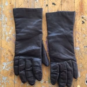Brown leather cashmere lined gloves